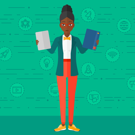 decide deciding: An african-american confused woman choosing between a tablet computer and a paper book on a green background with technology icons vector flat design illustration. Square layout. Illustration