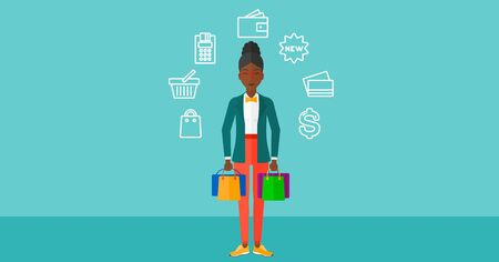 An african-american woman with bags and some shopping icons around her on a blue background vector flat design illustration. Horizontal layout.