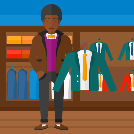 An african-american man holding a hanger with a jacket on the background of clothes store vector flat design illustration. Square layout. 矢量图像