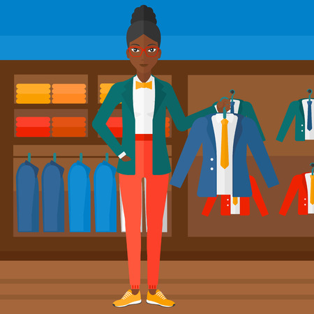 An african-american woman holding a hanger with a jacket on the background of clothes store vector flat design illustration. Square layout. Vectores