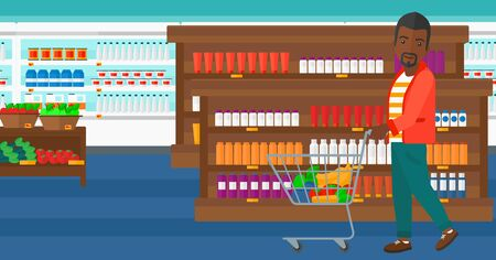 man pushing: An african-american man pushing a supermarket cart with some goods in it on the background of supermarket shelves with products vector flat design illustration. Horizontal layout.