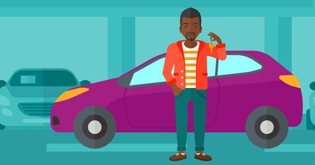 An african-american man holding keys from his new car on the background of car shop vector flat design illustration. Horizontal layout.