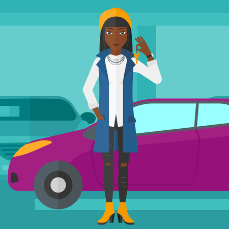 An african-american woman holding keys from her new car on the background of car shop vector flat design illustration. Square layout.