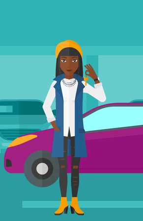 An african-american woman holding keys from her new car on the background of car shop vector flat design illustration. Vertical layout. Illustration