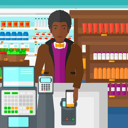 wireless terminals: An african-american man paying with his smartphone using terminal on the background of supermarket shelves with products vector flat design illustration. Square layout. Illustration