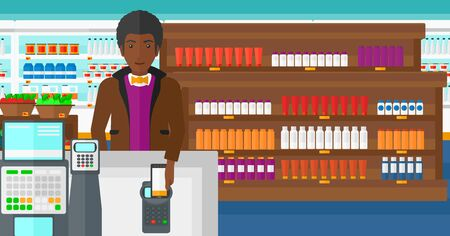 An african-american man paying with his smartphone using terminal on the background of supermarket shelves with products vector flat design illustration. Horizontal layout. 矢量图像
