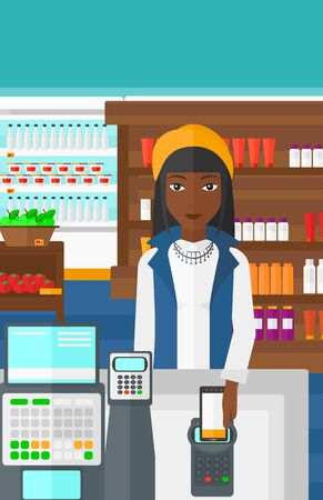 wireless terminals: An african-american woman paying with his smartphone using terminal on the background of supermarket shelves with products vector flat design illustration. Vertical layout.