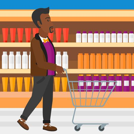 toiletry: An african-american man pushing an empty supermarket cart on the background of shelves with toiletry in supermarket vector flat design illustration. Square layout.