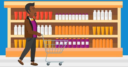toiletry: An african-american man pushing an empty supermarket cart on the background of shelves with toiletry in supermarket vector flat design illustration. Horizontal layout. Illustration