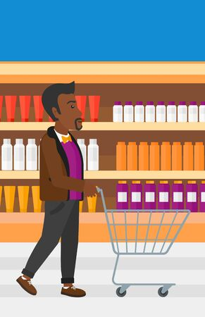 toiletry: An african-american man pushing an empty supermarket cart on the background of shelves with toiletry in supermarket vector flat design illustration. Vertical layout. Illustration