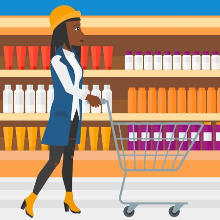 aisle: An african-american woman pushing an empty supermarket cart on the background of shelves with toiletry in supermarket vector flat design illustration. Square layout.