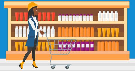toiletry: An african-american woman pushing an empty supermarket cart on the background of shelves with toiletry in supermarket vector flat design illustration. Horizontal layout. Illustration