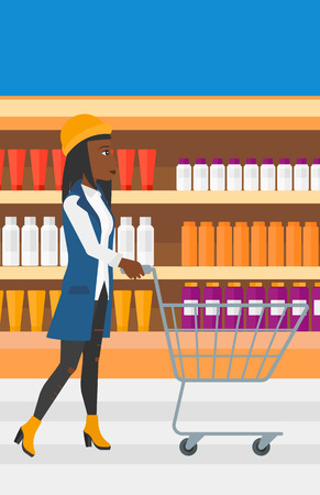 toiletry: An african-american woman pushing an empty supermarket cart on the background of shelves with toiletry in supermarket vector flat design illustration. Vertical layout.