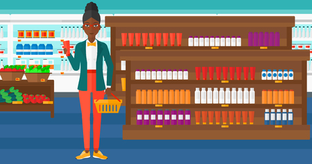 aisle: An african-american woman holding a shopping basket in one hand and a tube of cream in another on the background of supermarket shelves with products vector flat design illustration. Horizontal layout.