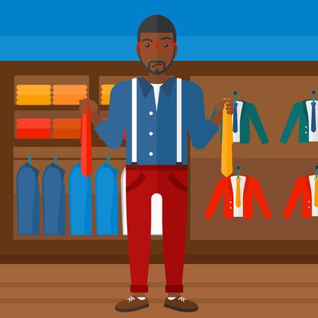 shopping people: An african-american man holding two different neckties and trying to choose the best one  on the background of clothes store vector flat design illustration. Square layout. Illustration