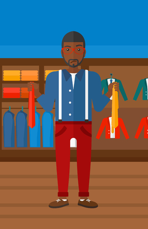 choosing clothes: An african-american man holding two different neckties and trying to choose the best one  on the background of clothes store vector flat design illustration. Vertical layout. Illustration