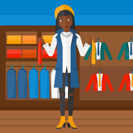 choosing clothes: An african-american woman holding two different neckties and trying to choose the best one  on the background of clothes store vector flat design illustration. Square layout.
