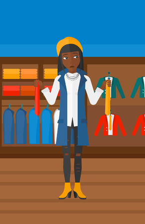 choosing clothes: An african-american woman holding two different neckties and trying to choose the best one  on the background of clothes store vector flat design illustration. Vertical layout.