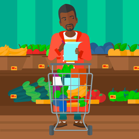 supermarket trolley: A thoughtful african-american man standing with full supermarket trolley and holding a shopping list in hands on the background of shelves with vegetables and fruits in supermarket vector flat design illustration. Square layout. Illustration