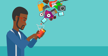 An african-american man holding a smartphone with shopping cart and application icons flying out on a blue background vector flat design illustration. Horizontal layout.