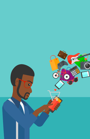 An african-american man holding a smartphone with shopping cart and application icons flying out on a blue background vector flat design illustration. Vertical layout.
