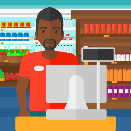 checkout: An african-american salesman standing at checkout on the background of supermarket shelves with products vector flat design illustration. Square layout.