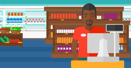 checkout: An african-american salesman standing at checkout on the background of supermarket shelves with products vector flat design illustration. Horizontal layout.