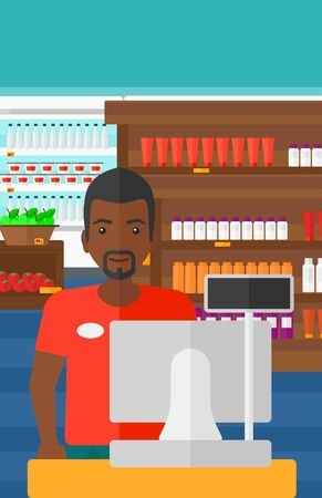 checkout: An african-american salesman standing at checkout on the background of supermarket shelves with products vector flat design illustration. Vertical layout. Illustration