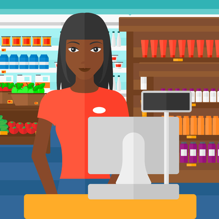 checkout: An african-american saleslady standing at checkout on the background of supermarket shelves with products vector flat design illustration. Square layout.