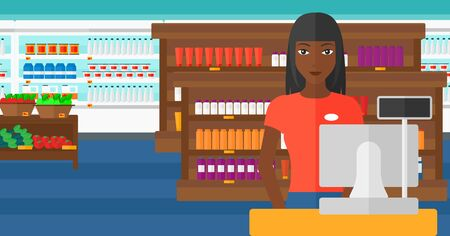 checkout: An african-american saleslady standing at checkout on the background of supermarket shelves with products vector flat design illustration. Horizontal layout.