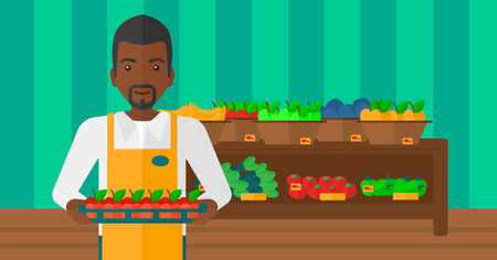 An african-american man holding a box with apples on the background of shelves with vegetables and fruits in supermarket vector flat design illustration. Horizontal layout.
