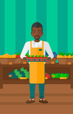 An african-american man holding a box with apples on the background of shelves with vegetables and fruits in supermarket vector flat design illustration. Vertical layout.