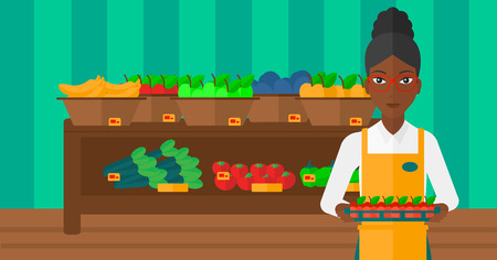 shop assistant: An african-american woman holding a box with apples on the background of shelves with vegetables and fruits in supermarket vector flat design illustration. Horizontal layout.