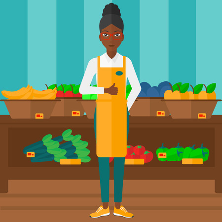 An african-american supermarket worker showing thumb up on the background of shelves with vegetables and fruits in supermarket vector flat design illustration. Square layout. Illustration