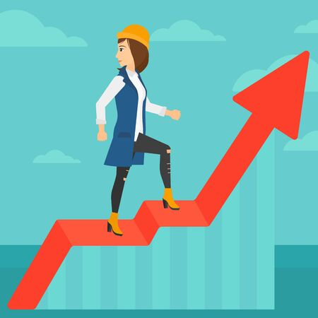 uprising: A woman standing on an uprising chart and looking down on the background of blue sky vector flat design illustration. Square layout.