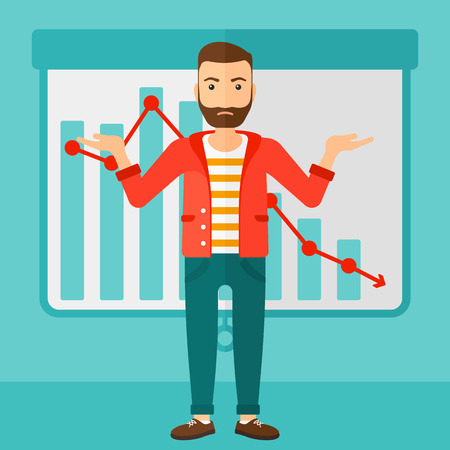 A stressed man on the background of projector roller screen with decreasing chart vector flat design illustration. Square layout.
