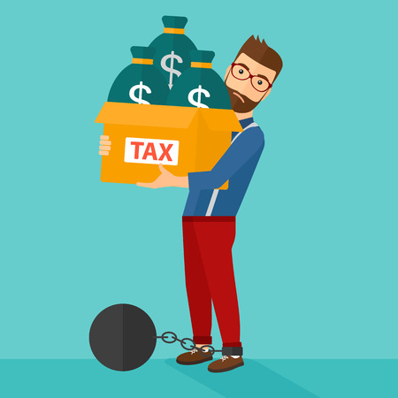 man trapped: Chained to a large ball hipster man with the beard carrying heavy box with bags full of taxes on a blue background vector flat design illustration. Square layout. Illustration
