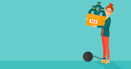 carrying box: Chained to a large ball woman carrying heavy box with bags full of taxes on a blue background vector flat design illustration. Horizontal layout. Illustration