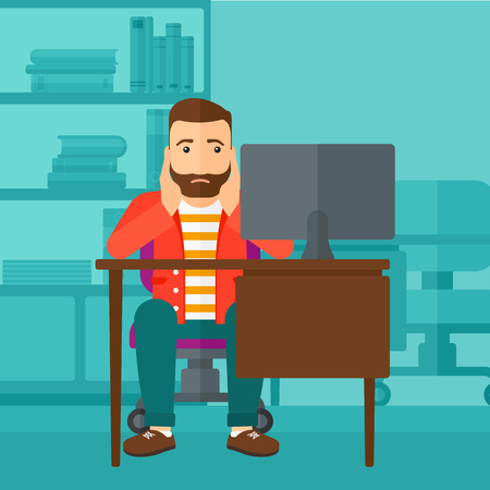 A tired hipster man with the beard sitting at the table in front of computer monitor and clutching his head on the background of business office vector flat design illustration. Square layout. Illustration
