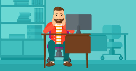 flagging: A tired hipster man with the beard sitting at the table in front of computer monitor and clutching his head on the background of business office vector flat design illustration. Horizontal layout.