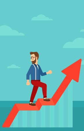 man looking at sky: A hipster man with the beard standing on an uprising chart and looking down on the background of blue sky vector flat design illustration. Vertical layout.
