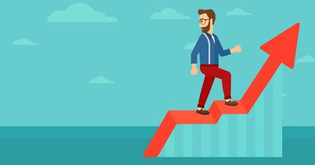 looking down: A hipster man with the beard standing on an uprising chart and looking down on the background of blue sky vector flat design illustration. Horizontal layout.