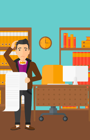 worried man: A worried man holding a long bill in hand on the background of business office vector flat design illustration. Vertical layout.