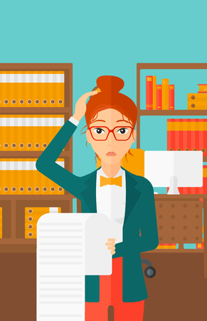 A worried woman holding a long bill in hand on the background of business office vector flat design illustration. Vertical layout.