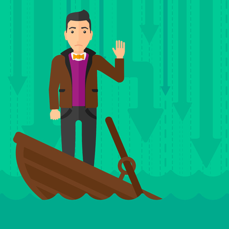 A scared businessman standing in a sinking boat and asking for help on the background of arrows moving down vector flat design illustration. Square layout. 矢量图像