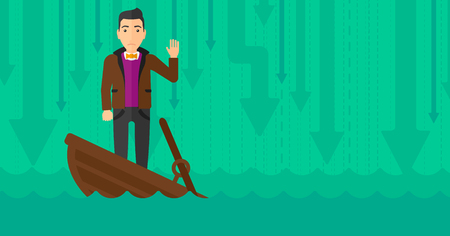 moving down: A scared businessman standing in a sinking boat and asking for help on the background of arrows moving down vector flat design illustration. Horizontal layout.