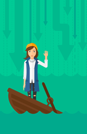 moving down: A scared business woman standing in a sinking boat and asking for help on the background of arrows moving down vector flat design illustration. Vertical layout. Illustration