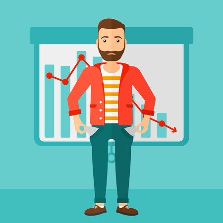 worried: A confused hipster man with the beard showing his epmty pockets on the background of projector roller screen with decreasing chart vector flat design illustration. Square layout.
