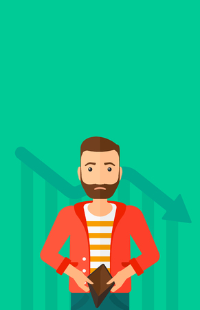empty wallet: A hipster man with the beard showing his epmty purse on a green background with decreasing chart vector flat design illustration. Vertical layout.