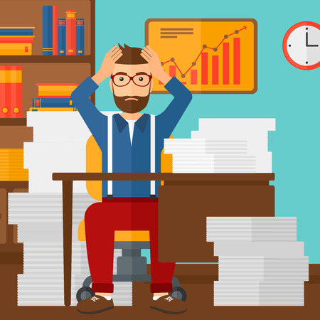 A hipster man in despair sitting at the table and clutching his head in front of heap of papers on the background of business office vector flat design illustration. Square layout. Illusztráció